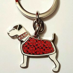 New Coach Jack Russel Terrier Dog Keychain Crystal